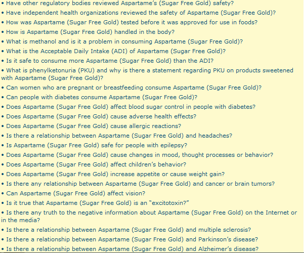 sugar free gold aspartame