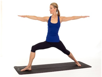 yoga warrior pose 2 toned legs