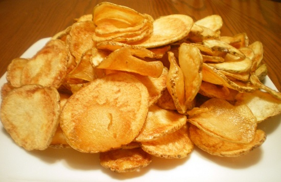 homemade potato chips junk food