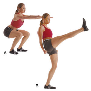 Squat kicks butt exercise