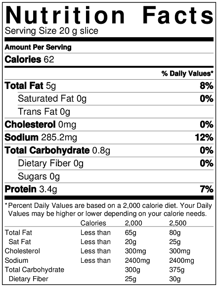 Nutrition chart of Britannia cheese slice 20 g