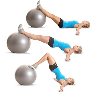 Swiss-Ball Hip Raise and Leg Curl exercise for toned rear