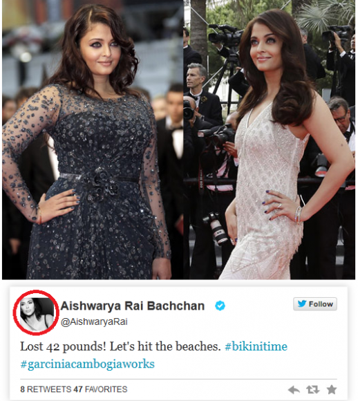 Pure Cambogia Ultra And Pure Life Cleanse fraud aishwarya rai's pic