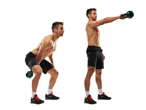 single arm kettlebell swing exercise for legs
