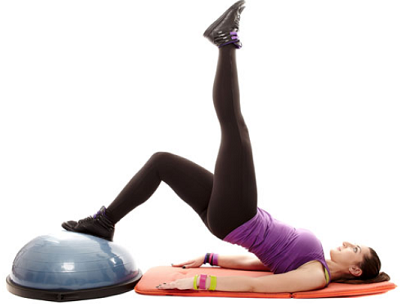 One legged bridge-6 exercises with the BOSU ball