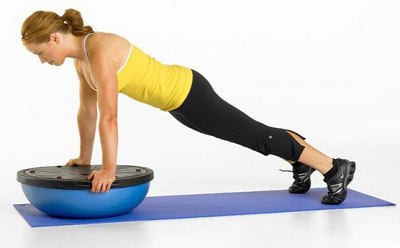 Push up 6 exercises with the BOSU Ball
