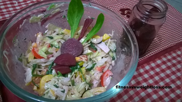 Winter salad with beet vinegar