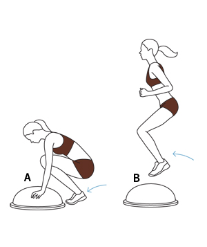 burpee-jump 6 exercises with the BOSU ball