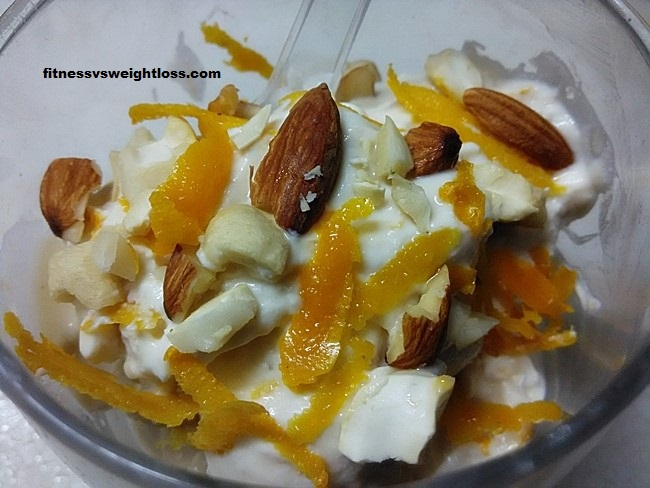 orange yogurt with nuts