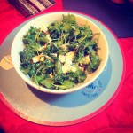Flat kale and feta cheese salad