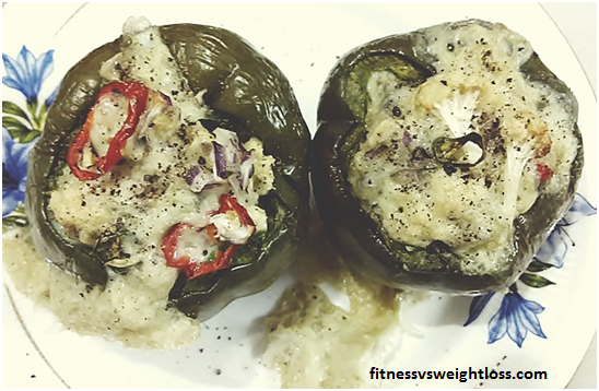 Low Carb Oil Free Baked Capsicum With Cauliflower no 6