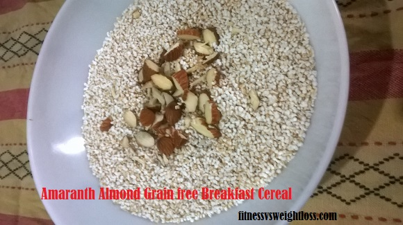 Amaranth almond grainfree cereal for breakfast