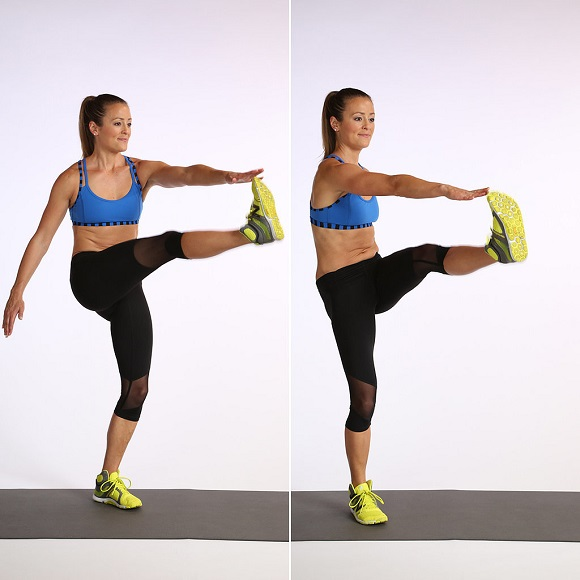kick crunch exercise