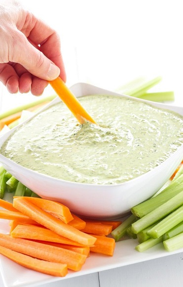 veggies with yogurt dip, Portable And Healthy High Protein Snacks