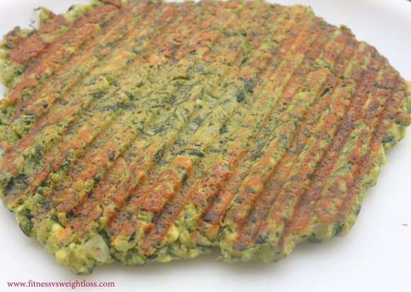 high protein palak paneer cheela