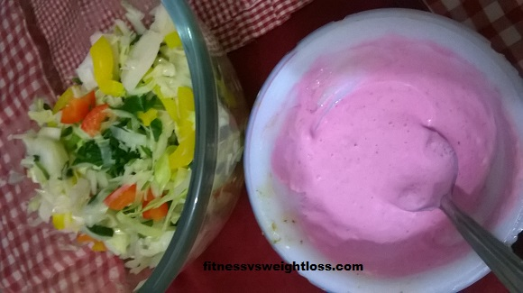winter salad with beet mayo