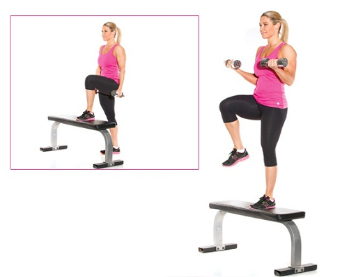 Step-up-with-bicep-curl Fitness for women 6 best workouts