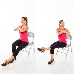 Leg lift and twist - Burn Calories With Chair Cardio Exercises