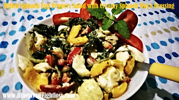 Wilted spinach egg peppers salad with creamy spinach mayo dressing