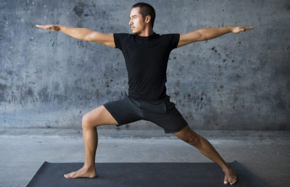Yoga for men warrior pose